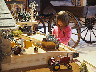 Une enfant émerveillée devant une ferme miniature